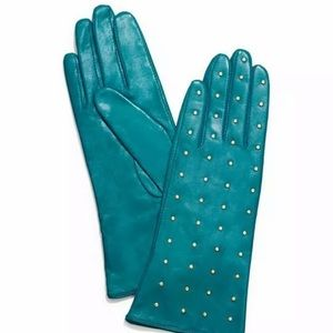 Nwt Tory Burch Teal Green Leather Studded Gloves 6